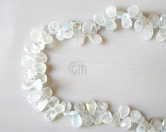 """20% OFF Single Strand Rainbow Moonstone Briolette Beads, 7x5mm Faceted Gemstone Teardrop Beads 8"""" Inch Long (DRRM-70008)"""