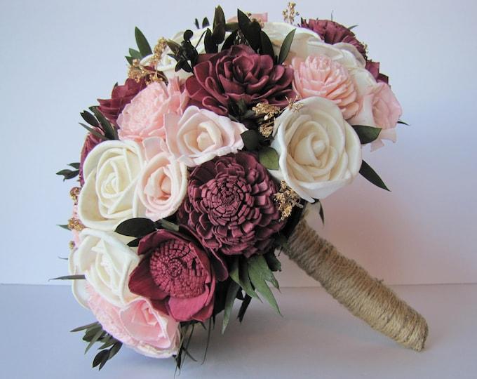 Burgundy and Blush Pink Bridal Bouquet, Keepsake Bridal Bouquet,  Sola Flower Bridal bouquet, sola flower bouquet,  Marsala wedding flowers
