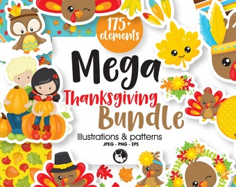 80% OFF SALE Thanksgiving BUNDLE graphic set,  Thanksgiving clipart commercial use, fall clipart, vector graphics, digital images