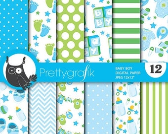 80% OFF SALE Baby boy digital papers, baby shower commercial use, scrapbook papers, background - PS710