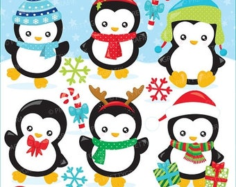 80% OFF SALE Christmas baby penguins clipart commercial use, kawai christmas penguins vector graphics, clipart  - CL928