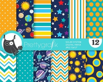 80% OFF SALE Space digital papers, solar system commercial use, planet scrapbook papers, planets and space background - PS821
