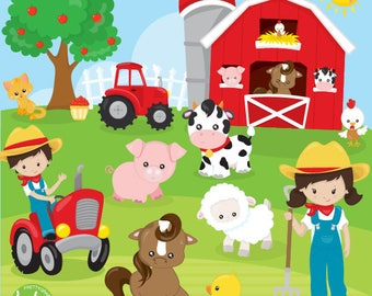 80% OFF SALE Farm animals clipart commercial use, clipart, vector graphics, digital clip art, friends, farmer - CL1120