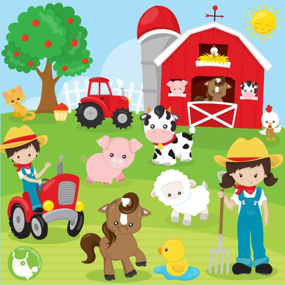 80% OFF SALE Farm animals clipart commercial use, clipart ...
