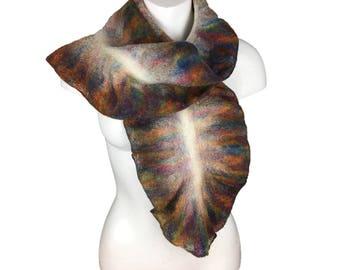 Wet felted scarf, white with rainbow ruffled border