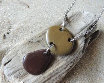 Handmade All Natural 2 Beach Stone Drop Pendant on Silver Chain EARTHY