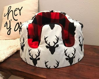 Black and Cream Buck and Buffalo Red Plaid Bumbo Cover