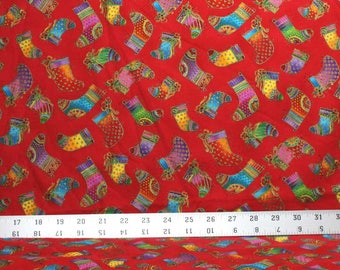 One and One Half Yard of Christmas Stockings on Red - Laurel Burch Bountiful Blessings - Laurel Burch Fabric