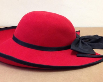 Lancaster 100% wool Sonni San Francisco red Madeline style hat big black bow WBL 4384 ladies vintage
