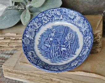 Antique Ironstone Bowl Flow Blue  Liberty Farmhouse Decor Fixer Upper Decor  English Ironstone Scallop Berry Bowl Betsy Ross