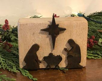 Wood Stable Nativity Block