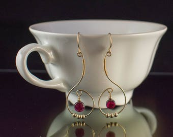 Elegant Garnet 14k Gold-Filled Dangle Earrings