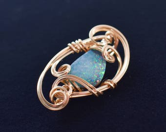 Black Opal Pendant, 14k Gold Filled Wire Wrap