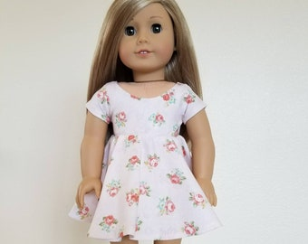 Pale Pink Floral Part Dress for 18 inch dolls  by The Glam Doll