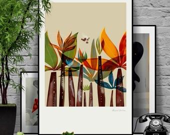 Salesman II. Signed illustration art poster giclée print.