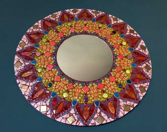 Mixed media mirror, mosaic mirror, mandala mirror