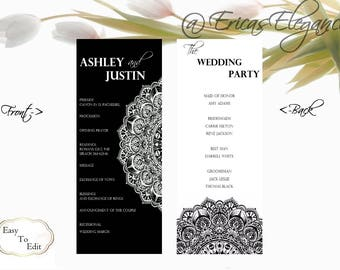 Black White Modern Wedding Program Order Of Service Template Editable Word Doc Instant Download