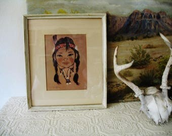 "Mid Century 1960 Gerda Christofferson Artist Papoose Navajo Native American Indian Child Print ""Morning Sun Beam""  11x13 Frame"