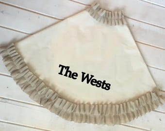 Personalized Canvas Tree Skirt / Beige, Cream, Red or striped Ruffle Trim / christmas tree skirt / Ruffle christmas skirt