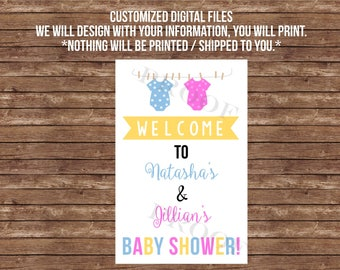 Double baby shower welcome sign, - DIGITAL FILES- Nothing will be printed or shipped to you.  twins, joint baby shower, decor, decoration