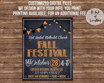 Fall Festival flyer- DIGITAL FILES - Craft fair, Church event, carnival, trunk or treat, Halloween, Fall Event, Holiday bazaar, Craft show