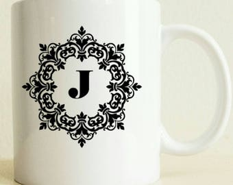 Initial Mug Decorated | Coffee mug | Letter Mug Gift | Birthday Gift | Coworker Gift | Gift for Her | Gift for Him | College Student Gift