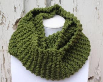 Olive Green Knit Infinity Scarf-Bamboo Yarn-Knitted Cowl-Chunky Scarf-Earthy Scarf-Natural Fiber-Neck Warmer