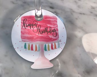 Birthday Cake Wine Stem Tags, Set of 20, Party Decor, NameTags, Wine Charms