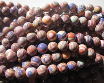 10 round 6 mm (5-10) marbled agate beads