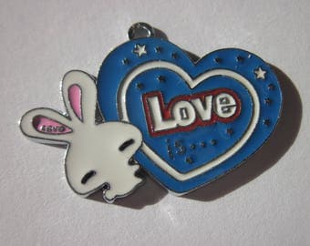 heart shaped charm in metal colored 2.5 cm (A13)