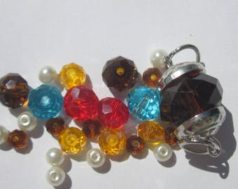 25 round (25 PV49) multicolored glass beads