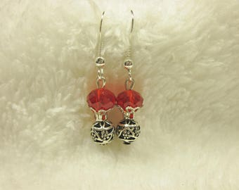 a pair of colored glass beads earrings