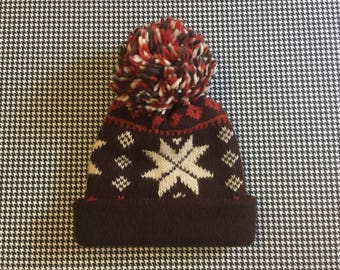 1980's, giant pom pom, snowflake hat, in brown, with rust and cream, Adult size