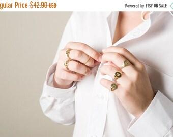 SALE Personalized Signet ring, Monogram Signet Ring, Engraved Letter, 14K Gold plated, 14K Gold Filled, Signet Ring, Pinky Signet ring, Seal