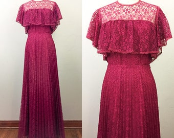 Vintage 70s Burgundy LACE Gothic Victorian Maxi Dress S
