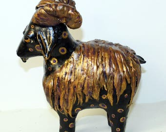 The Royal Goats of Ur (Black) -Paper Mache Clay Goat Sculptures