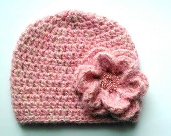 Baby hat, sequin baby girl pink wool hat