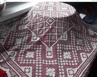 Summer sale -20% Filet lace milk white tablecloth. Handmade filet lace doily. Polish vintage 1950.