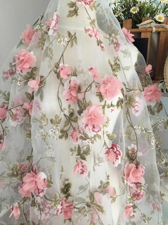 fabric organza lace pink 3d flower chiffon dusty floral blossom flowers gown rosette yard applique appliques bridal etsy ivory yards