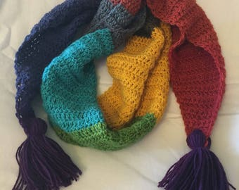 Mutlicolor scarf colorblock crochet scarf with tassels colorful handmade scarf