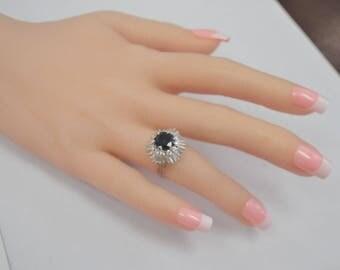 Vintage Sapphire and Diamond Ballerina Ring - 14 karat white gold