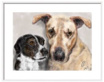 Custom Two Dog Portrait, custom portrait, dog lover, dog art, artwork, art print, pet lover, gift, custom, pet, wall art, pet memorial