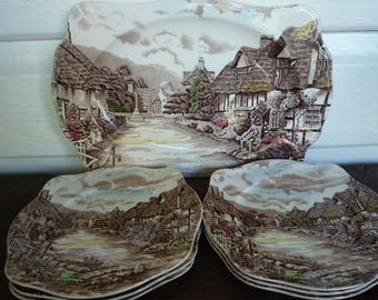 Johnson Brothers Olde English Countryside sandwich plate set