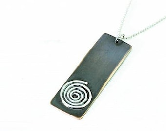 Mixed Metal Copper Sterling Silver Geometric Universal Spiral Pendant Necklace. Tribal Spiral Spiritual Sacred Nature.