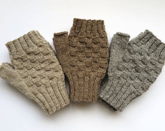 Fingerless Mittens knitting kit - 4ply 100% Pure New Natural Wool - kit makes 1 pair of mitts