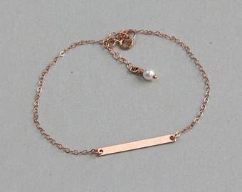 Bar Bracelet, Gold Bar Bracelet, Rose Gold Bracelet, Thin Bar Bracelet, Skinny Bar Bracelet, Hammered Bar Bracelet, Gift for Women Wife Girl