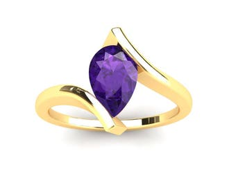 Amethyst Ring 1.00 Carat Pear Shape Amethyst Bypass Ring In 14k or 18k Yellow Gold CF10PUY
