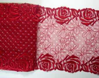 Vibrant red galloon lace  8.00 inches wide, non stretch, sewing crafts.