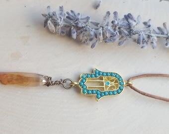 Hamsa Necklace, Hamsa Hand Jewelry, Crystal Hamsa Pendant, Crystal Necklace, Hamsa gift, Hand of Fatima, wire wrapped crystal Hamsa necklace