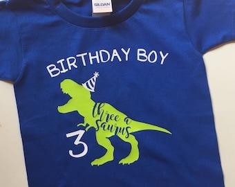 Dinosaur birthday t-shirt, toddler dinosaur birthday party shirt, child dinosaur party shirt, t-rex shirt